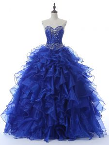 Deluxe Royal Blue Sweetheart Neckline Beading and Ruffles Quinceanera Gowns Sleeveless Lace Up