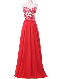 Eye-catching Sweetheart Sleeveless Chiffon Homecoming Dress Online Lace and Appliques Lace Up
