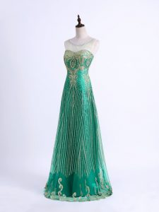 Green Sleeveless Floor Length Beading and Appliques Lace Up Formal Evening Gowns