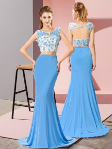 Clearance Baby Blue Two Pieces Scoop Sleeveless Chiffon Brush Train Zipper Beading and Hand Made Flower Homecoming Dress