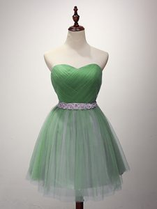 Beauteous Mini Length Lace Up Dama Dress for Prom and Party and Sweet 16 with Beading and Ruching