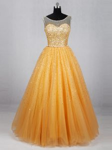 Sexy Floor Length Lace Up Prom Party Dress Gold for Prom and Party with Beading and Sequins