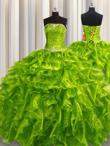 Sleeveless Organza Floor Length Lace Up Quinceanera Dress in Olive Green with Beading and Ruffles