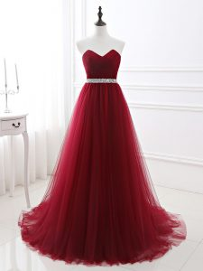 Wine Red A-line Sweetheart Sleeveless Tulle Brush Train Lace Up Beading Prom Dress