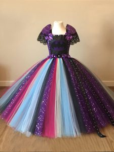Multi-color Little Girls Pageant Gowns Wedding Party with Sequins and Pattern Square Short Sleeves Zipper