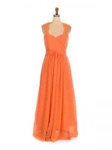 Sleeveless Chiffon Floor Length Lace Up Quinceanera Court of Honor Dress in Orange Red with Lace