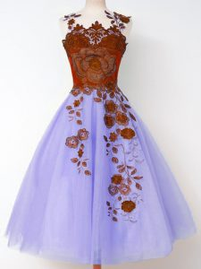 Wonderful Lavender Sleeveless Appliques Knee Length Quinceanera Court of Honor Dress