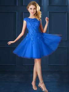 Blue A-line Bateau Cap Sleeves Tulle Knee Length Lace Up Lace and Belt Quinceanera Court of Honor Dress