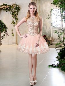 Peach Lace Up Scoop Beading and Lace and Appliques Junior Homecoming Dress Tulle Sleeveless