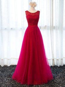 Top Selling Fuchsia Tulle Lace Up Dress for Prom Sleeveless Floor Length Beading and Belt