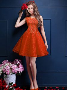 Sleeveless Knee Length Beading and Lace Lace Up Dama Dress with Orange Red