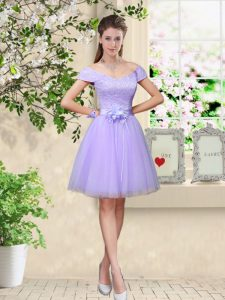 Dramatic Knee Length Lace Up Damas Dress Lilac for Prom and Party with Lace and Belt
