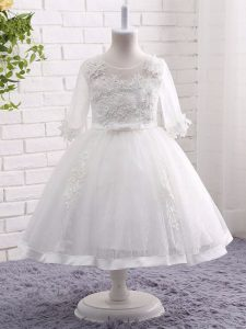 Stylish Scoop Short Sleeves Zipper Girls Pageant Dresses White Lace