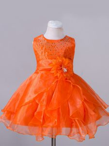 High Class Orange Red Ball Gowns Scoop Sleeveless Organza Knee Length Zipper Beading and Hand Made Flower Little Girls Pageant Dress Wholesale