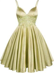 Chic Olive Green Sleeveless Lace Knee Length Quinceanera Court of Honor Dress