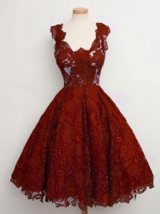 Smart Rust Red Sleeveless Lace Knee Length Quinceanera Court of Honor Dress