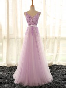 Fabulous Floor Length Lilac Dama Dress for Quinceanera Tulle Sleeveless Appliques