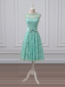 Simple Sleeveless Knee Length Lace and Bowknot Lace Up Vestidos de Damas with Apple Green