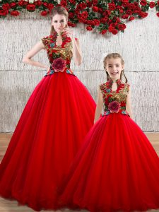 Vintage Red Organza Lace Up High-neck Sleeveless Floor Length Sweet 16 Dresses Appliques