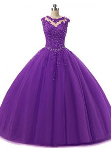 Inexpensive Sleeveless Floor Length Beading and Lace Lace Up Quinceanera Dress with Dark Purple