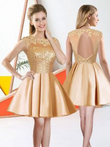 Sleeveless Knee Length Beading and Lace Backless Dama Dress for Quinceanera with Champagne