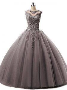 Traditional Brown Lace Up Sweet 16 Dresses Beading and Lace Sleeveless Floor Length