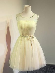 Gold Empire Scoop Sleeveless Tulle Knee Length Lace Up Belt Damas Dress