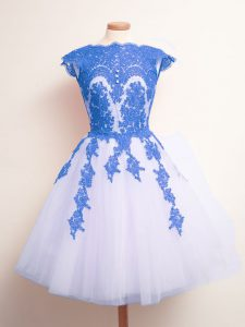 Attractive Blue And White Scalloped Neckline Appliques Dama Dress Sleeveless Lace Up