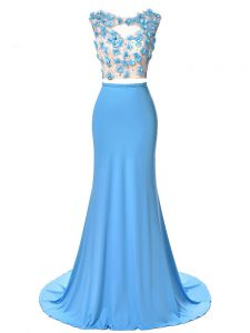 Wonderful Blue Sleeveless Chiffon Brush Train Backless Homecoming Dress for Prom and Military Ball and Sweet 16