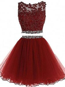 Custom Design Sleeveless Beading and Lace and Appliques Zipper Homecoming Dress