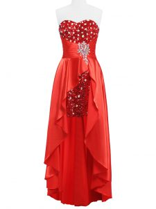 Beading and Ruching Prom Party Dress Coral Red Zipper Sleeveless Floor Length