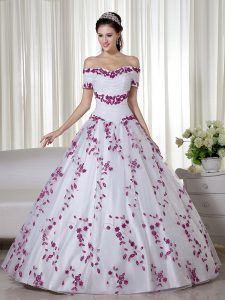 Custom Design Floor Length Lace Up Sweet 16 Dresses White for Military Ball and Quinceanera with Embroidery