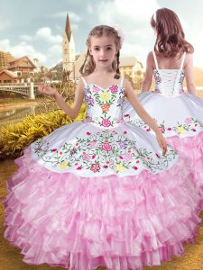 Rose Pink Lace Up Straps Embroidery and Ruffled Layers Little Girls Pageant Gowns Organza and Taffeta Sleeveless