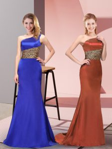 Low Price Royal Blue Sleeveless Pattern Floor Length Homecoming Dress
