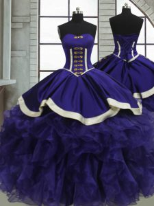 Stylish Purple Sweet 16 Dresses Military Ball and Sweet 16 and Quinceanera with Ruffles Sweetheart Sleeveless Lace Up