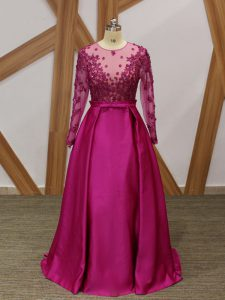 Luxurious Beading and Appliques and Belt Prom Gown Fuchsia Zipper Long Sleeves Floor Length