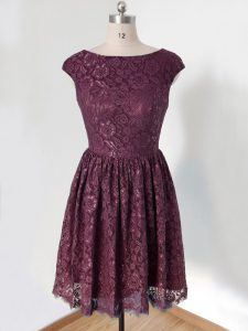 Spectacular Lace Scoop Cap Sleeves Lace Up Lace Court Dresses for Sweet 16 in Dark Purple
