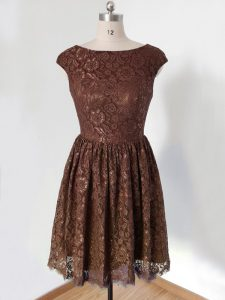 Lovely Lace Scoop Cap Sleeves Lace Up Lace Court Dresses for Sweet 16 in Brown