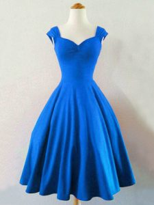 New Style Sleeveless Taffeta Knee Length Lace Up Quinceanera Court of Honor Dress in Blue with Ruching