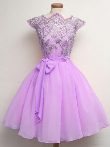 Lilac A-line Scalloped Cap Sleeves Chiffon Knee Length Lace Up Lace and Belt Damas Dress