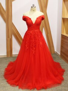 Custom Fit Coral Red A-line Tulle Off The Shoulder Sleeveless Lace and Appliques Lace Up Evening Outfits Brush Train