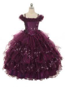 Charming Organza Sleeveless Floor Length Little Girl Pageant Gowns and Ruffles and Ruffled Layers