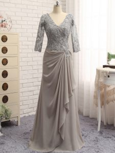 Fancy Grey Chiffon Zipper Prom Dress Long Sleeves Floor Length Lace and Appliques