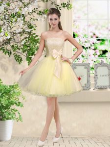 Suitable Light Yellow Sleeveless Organza Lace Up Vestidos de Damas for Prom and Party
