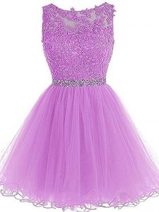 Fabulous Tulle Sleeveless Mini Length Cocktail Dresses and Beading and Lace and Appliques
