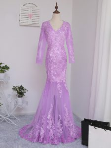 Fancy Lilac Mermaid Lace and Appliques Prom Gown Side Zipper Tulle Long Sleeves