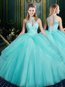 Sleeveless Floor Length Beading and Pick Ups Lace Up Quinceanera Dress with Aqua Blue