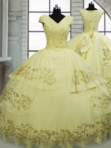 Light Yellow Ball Gowns Satin and Chiffon V-neck Cap Sleeves Beading and Embroidery Lace Up Sweet 16 Quinceanera Dress Brush Train