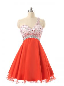 High Quality Chiffon and Tulle Sleeveless Mini Length Prom Dress and Beading