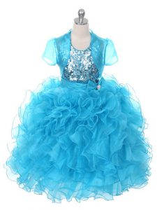 Baby Blue Ball Gowns Ruffles and Sequins and Bowknot Winning Pageant Gowns Lace Up Organza Sleeveless Floor Length
